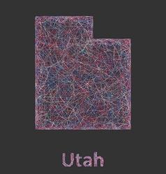 Utah line art map vector image