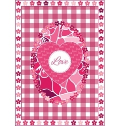 Valentines Day background with hearts and flowers vector image