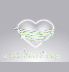 valentines day paper heart with flowers vector image