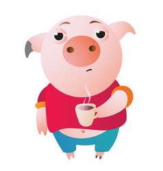 Very sleepy pig with a cup of hot coffee vector