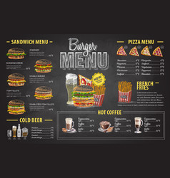vintage chalk drawing burger menu design vector image