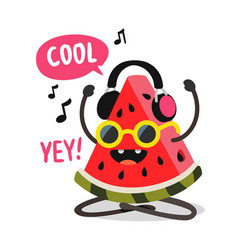 Watermelon listening to music with headphones vector
