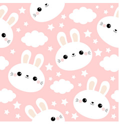 white rabbit bunny face seamless pattern cloud in vector image