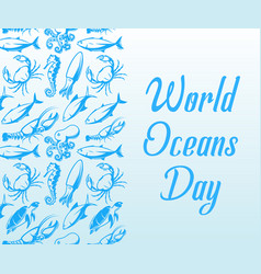 World oceans day design template ocean health vector