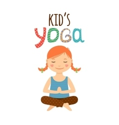 Yoga kids logo design with girl vector
