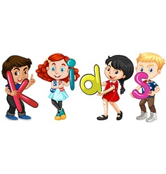 Boys and girls holding alphabets vector image vector image