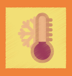 Flat shading style icon thermometer cold weather vector