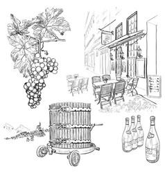 Hand Drawn Vineyard Set vector image