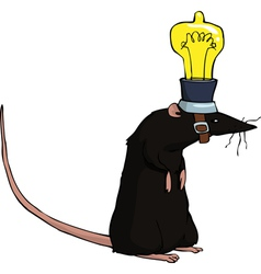rat with lamp vector image vector image
