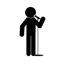 stick man say into microphone vector image vector image