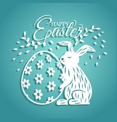 bunny and egg for easter day greeting card vector image vector image