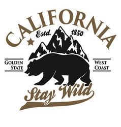 california typography print grizzly bear t-shirt vector image vector image