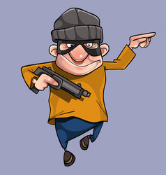 cartoon cheerful man in bandit mask with gun vector image vector image