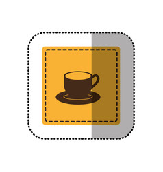 color sticker cup with plate icon vector image