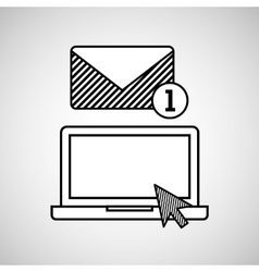 hand draw laptop email social network media vector image