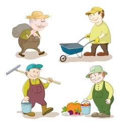 Cartoon gardeners work vector image