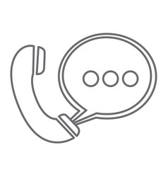grayscale silhouette of telephone with oval speech vector image