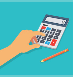 hand with calculator vector image vector image