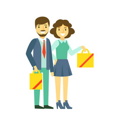 happy family couple with shopping bags family vector image