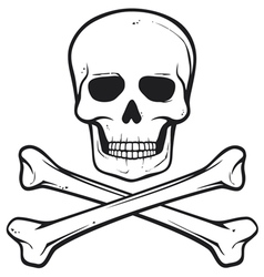 skull with crossed bones - pirate symbol vector image vector image