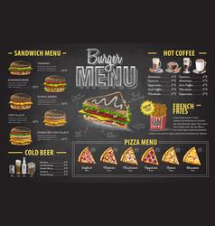 vintage chalk drawing burger menu design vector image vector image