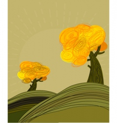 autumn landscape with golden trees vector image