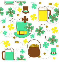 clover hat beer and cauldron with gold st vector image