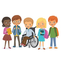 Disabled child with his international friends vector image vector image