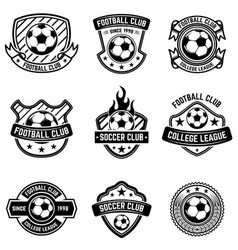 football club emblems on white background soccer vector image vector image