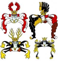 heraldic helmets vector image vector image