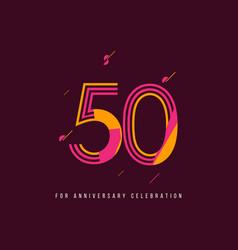 50 year retro anniversary celebration template vector