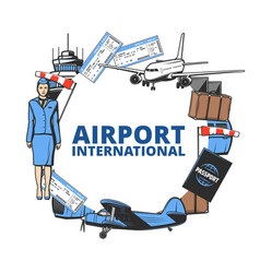 airport plane tickets passport and luggage icon vector image