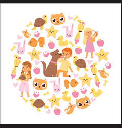 animals friendship background with kids characters vector image