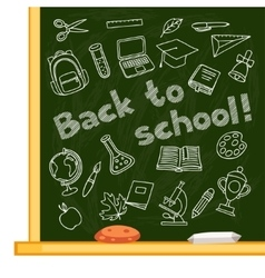 back to school background with hand drawn icons vector image