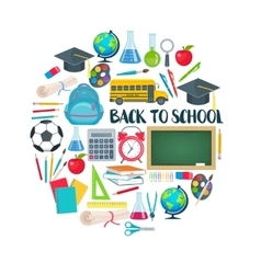 Back to school round composition vector