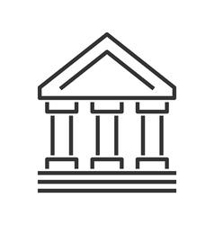 Bank building line icon vector image