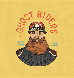bearded biker templates motorcycles club vintage vector image