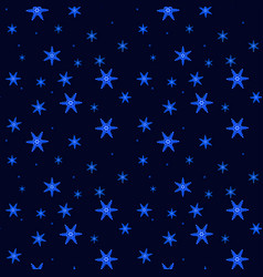 Beautiful falling glowing snowflakes on dark blue vector