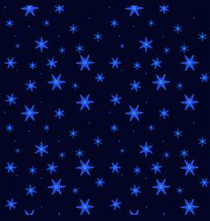 beautiful falling glowing snowflakes on dark blue vector image
