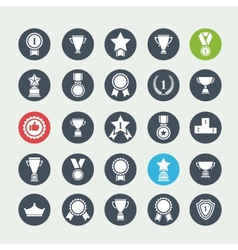 Big set white avards icons vector image