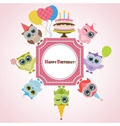 Birthday frame with owls vector
