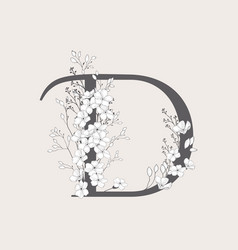 Blooming floral initial d monogram and logo vector
