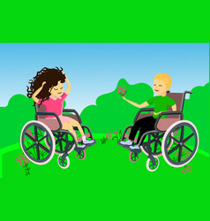Boy and girl in nature disabled children in vector