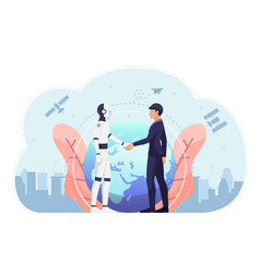 Businessman and ai robot shaking hand against vector