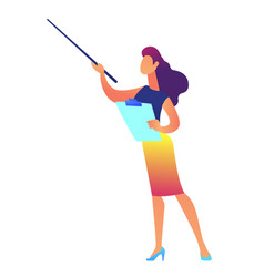 Businesswoman holding clipboard shows with pointer vector