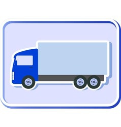 Button with truck silhouette vector