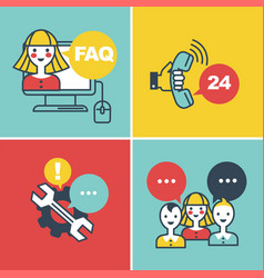 Call center faq and online help operators and vector