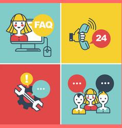 Call center faq and online help operators vector