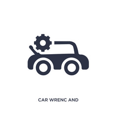 Car wrenc and cogwheels icon on white background vector