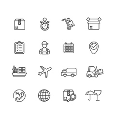 Cargo and Shipping Outline Icons Set vector image